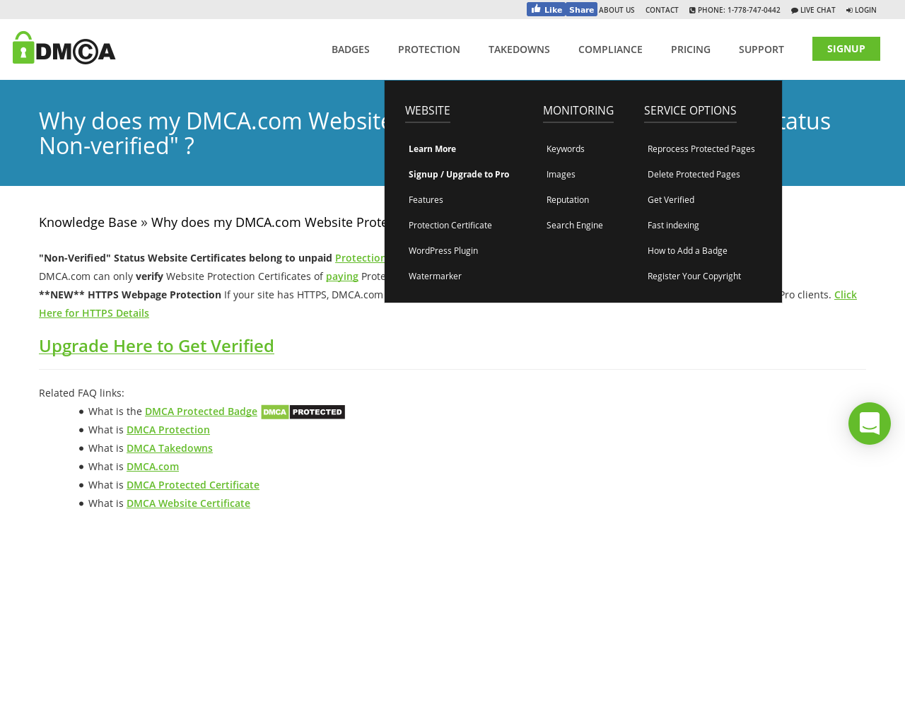 Why does my DMCA com Website Protection Certificate say